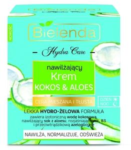 BIELENDA Hydra Care, Nawilżający krem do twarzy Kokos i Aloes, cera tłusta i mieszana, 50 ml