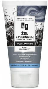 AA Carbon & Clay, Żel do mycia twarzy z peeligiem Węgiel Japoński, każda cera, 150 ml