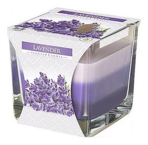 BISPOL Scented Candle Lavender, Trójkolorowa świeca zapachowa w szkle Lawenda, 1 szt