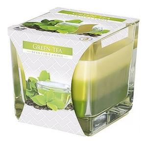 BISPOL Scented Candle Green Tea, Trójkolorowa świeca zapachowa w szkle Zielona Herbata, 1 szt