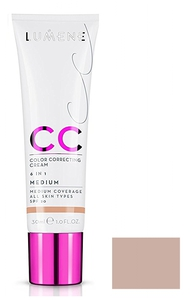 LUMENE CC Color Correcting Cream 6 in 1, Podkład, rozświetlacz i korektor, Medium, 30 ml