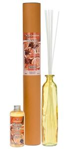 FLOR DE MAYO Mikado XL, Patyczki zapachowe + wazon + olejek Cynamon i Pomarańcza, 250 ml