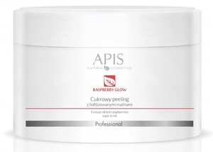 APIS Raspberry Glow, Ultra nawilżający peeling cukrowy z liofilozowanymi malinami, każda cera, 220g
