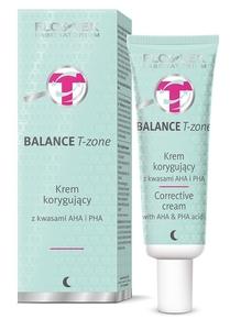 FLOSLEK Balance T-Zone, Krem korygujący z kwasami AHA i PHA, cera mieszana, 50 ml