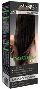 MARION Natura Styl, Farba do włosów z regenerującą odżywką 3w1, 620  Ciemny brąz, 1 op.