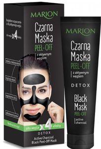 MARION Detox, Czarna maska peel-off z aktywnym węglem, cera tłusta, mieszana, trądzikowa, 25 g