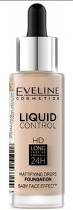 EVELINE Liquid Control HD Long Lasting 24h, Matujący podkład w płynie, 010 Light Beige, 32 ml