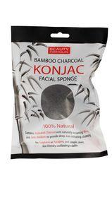 BEAUTY FORMULAS Charcoal, Gąbka bambusowa z aktywnym węglem do mycia twarzy, 1 szt.
