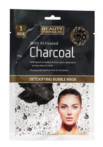 BEAUTY FORMULAS Charcoal, Bąbelkowa maseczka detoksykująca z aktywnym węglem, 1 szt