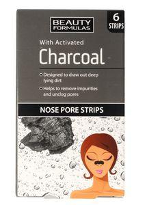BEAUTY FORMULAS Charcoal, Głęboko oczyszczające płatki na nos z aktywnym węglem, 6 szt.