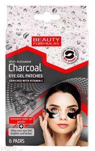 BEAUTY FORMULAS Charcoal, Żelowe płatki pod oczy z aktywnym węglem, 6 szt