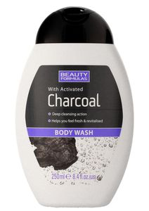 BEAUTY FORMULAS Charcoal, Żel do mycia ciała z aktywnym węglem, 250 ml