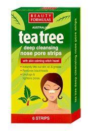 BEAUTY FORMULAS Tea Tree, Głęboko oczyszczające płatki na nos z olejkiem herbacianym, 6 szt.