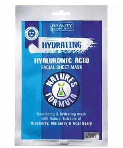 BEAUTY FORMULAS Natures Formula, Nawilżająca maseczka do twarzy z kwasem hialuronowym w płacie, 1 szt.