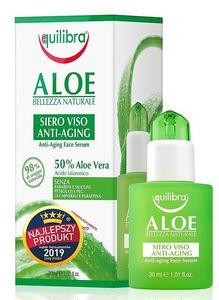 EQUILIBRA Aloe, Serum przeciwzmarszczkowe do twarzy  z 50% aloesem, cera dojrzała, 30 ml