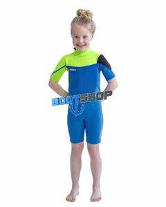 Pianka krótka dziecięca BOSTON Shorty 3/2 mm lime blue M JOBE