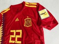 Dziecięcy zestaw piłkarski HISZPANIA Home WORLD CUP 2018 (koszulka+spodenki+getry) #22 ISCO