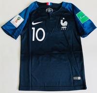 Dziecięcy zestaw piłkarski FRANCJA NIKE Home 2018 (koszulka, spodenki i getry) #10 Mbappe