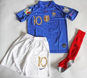 Dziecięcy zestaw piłkarski FRANCJA NIKE Home 2019 (koszulka, spodenki i getry) #10 Mbappe