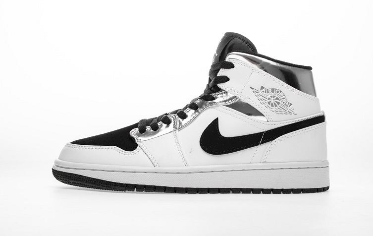 "Buty Męskie Nike Air Jordan 1 Mid ""White Silver"" 554724 121"