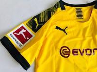 Dziecięcy zestaw piłkarski BORUSSIA DORTMUND home 19/20 PUMA (koszulka+spodenki+getry) #26 PISZCZEK