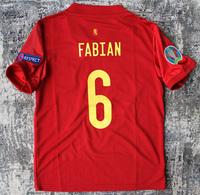 Dziecięcy zestaw piłkarski HISZPANIA Home EURO 2020 (koszulka+spodenki+getry) #6 FABIAN